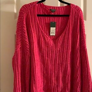 Cropped Sweater 3X NWT Pink